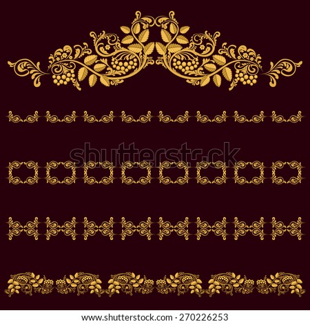 Gold frames. Gold ornament on a dark background. Natural elements, leaves, berries, curls, decorative chain. - stock vector