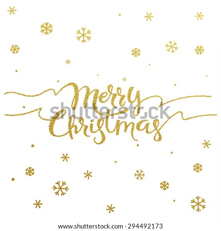Gold glitter Christmas lettering design. Merry Christmas greeting card with golden glittering snowflakes pattern decoration.  - stock vector