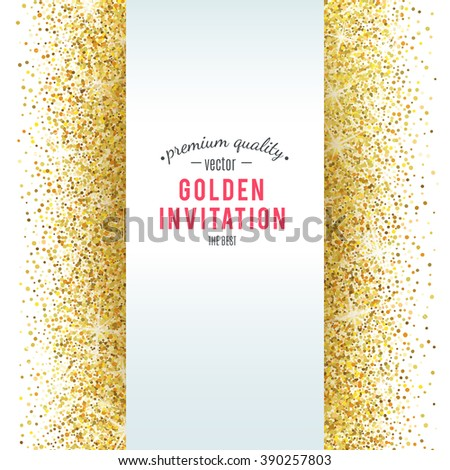 Gold glitter texture isolated on white background. Vector illustration for golden shimmer background. Sparkle sequin tinsel yellow bling. For sale gift card, brightly vibrant certificate, voucher - stock vector