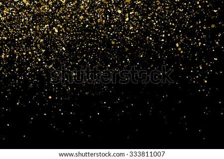 Gold glitter texture on a black background. Golden explosion of confetti. Golden grainy abstract  texture on a black  background. Design element. Vector illustration,eps 10. - stock vector