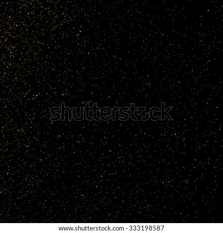 Gold glitter texture on a black background. Goldl explosion of confetti. Grainy abstract  texture on a black  background. Design element. Vector illustration,eps 10. - stock vector