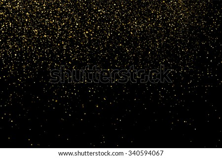 Gold glitter texture on a black background. Holiday background. Golden explosion of confetti. Golden grainy abstract  texture on a black  background. Design element. Vector illustration,eps 10. - stock vector