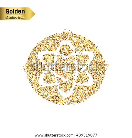 Gold glitter vector icon of atom isolated on background. Art creative concept illustration for web, glow light confetti, bright sequins, sparkle tinsel, abstract bling, shimmer dust, foil. - stock vector
