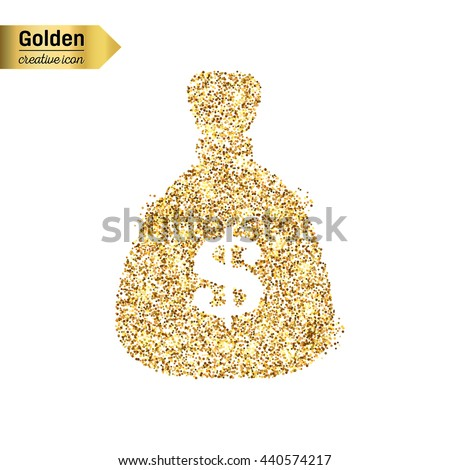 Gold glitter vector icon of money bag isolated on background. Art creative concept illustration for web, glow light confetti, bright sequins, sparkle tinsel, abstract bling, shimmer dust, foil. - stock vector