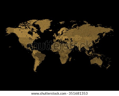 Gold Glitter World map - Geographical Map of Earth made of glittering dots - stock vector