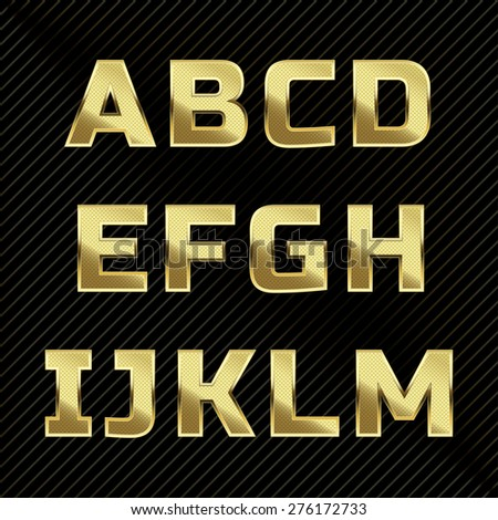 Gold glittering metal alphabet - numbers, currency signs. - stock vector
