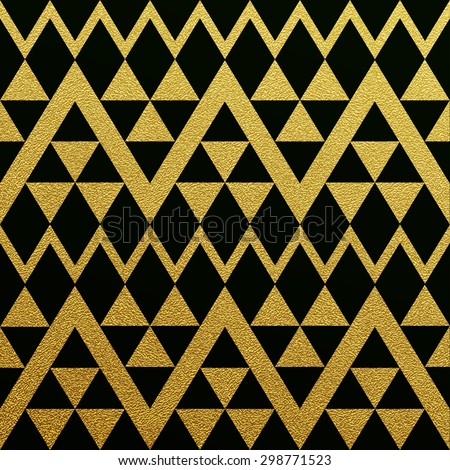 Gold glittering seamless pattern of triangles on black background.  - stock vector