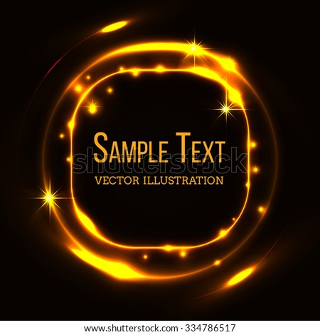 Gold glittering stardust draw rectangle frame. Shiny golden, template decorate blank. Vector illustration - stock vector