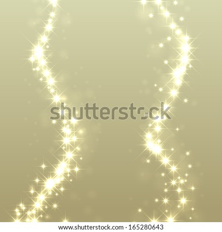 Gold glittering stars dust trail background. Christmas light effect.  - stock vector