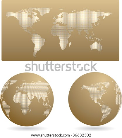 Gold globe set and map, vector - stock vector