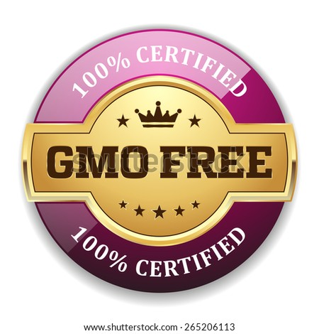 Gold gmo free badge with purple border on white background - stock vector