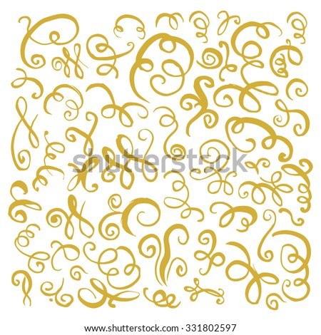 Gold hand drawn vintage swirls. Design elements for text, wedding cards and invitations. Vector illustration  - stock vector