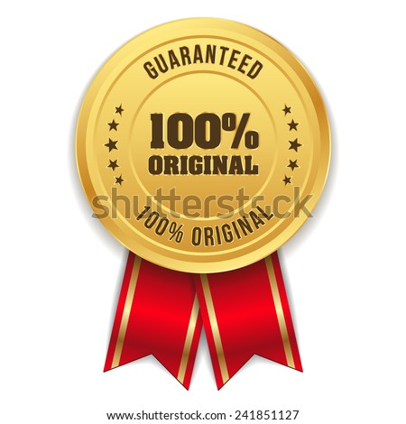 Gold hundred percent original badge with red ribbon - stock vector