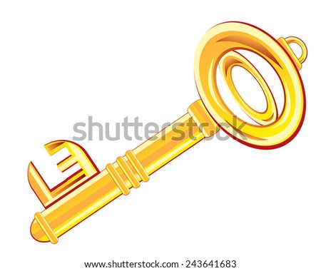 Gold key from door on white background is insulated - stock vector
