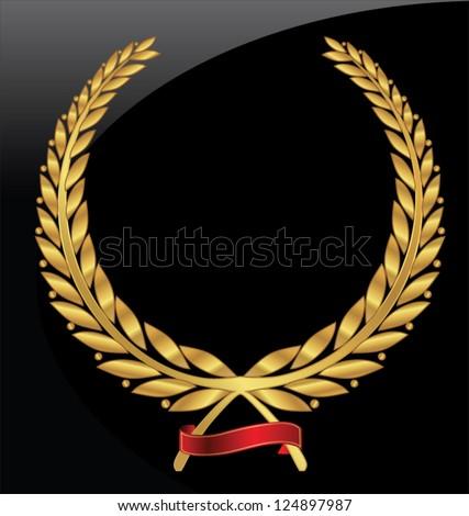 Gold laurel wreath - stock vector
