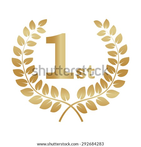 Gold laurel wreath award. Represents a victory, achievement, honor, quality product, or success. Ornate leaf sections. Vector illustration isolated on a white background - stock vector