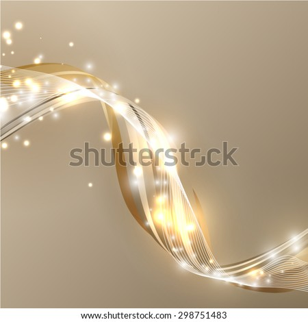 Gold lights vector wave abstract background - stock vector