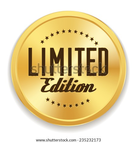 Gold limited edition badge on white background - stock vector
