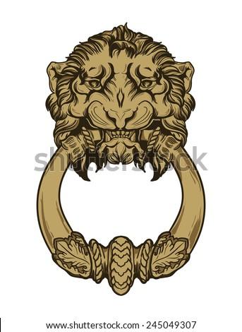 Gold lion head door knocker. Hand drawn vector illustration - stock vector