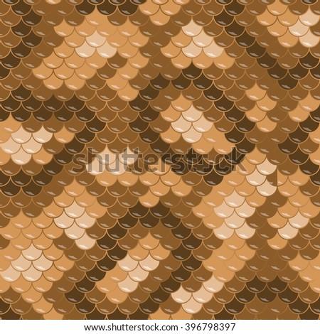 Gold lizard skin. Seamless squama texture pattern - stock vector