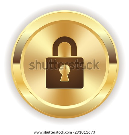 Gold login button with icon on white background - stock vector