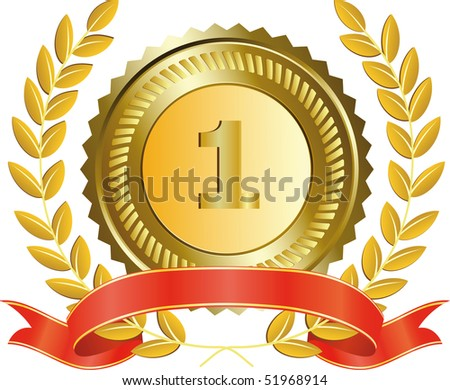gold medal and laurel wreath, vector illustration - stock vector