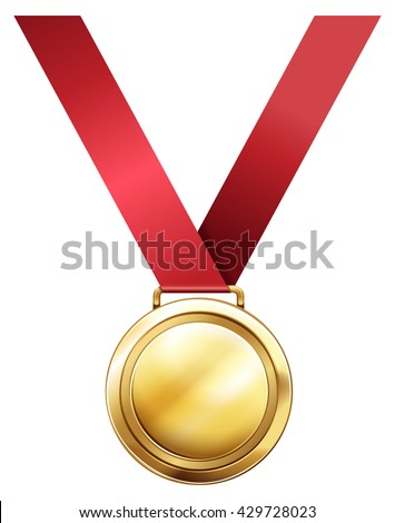 Gold medal for first prize illustration - stock vector