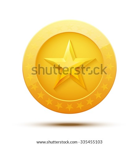 Gold Medal for Games. Golden Coin with Star. Achievement Icon. Vector illustration. - stock vector