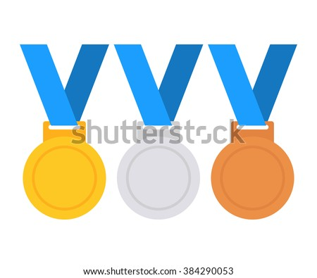 Gold medal icon. Silver medal icon. Bronze medal icon. Medal set. Vector set. Isolated medal on white background - stock vector