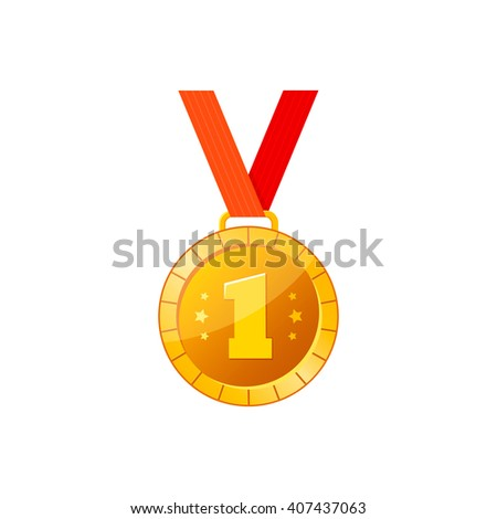 Gold medal icon with red ribbon. Medal vector illustration. Medal winner icon. Flat medal icon. - stock vector