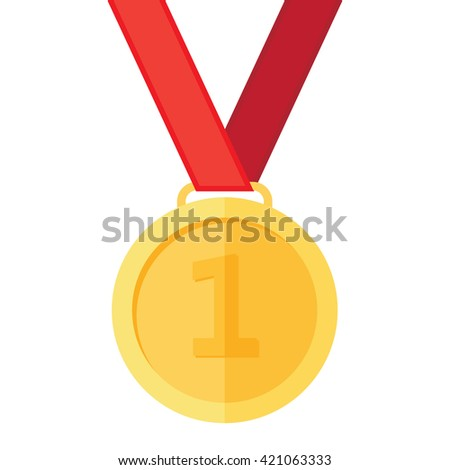 Gold medal on the white background - stock vector