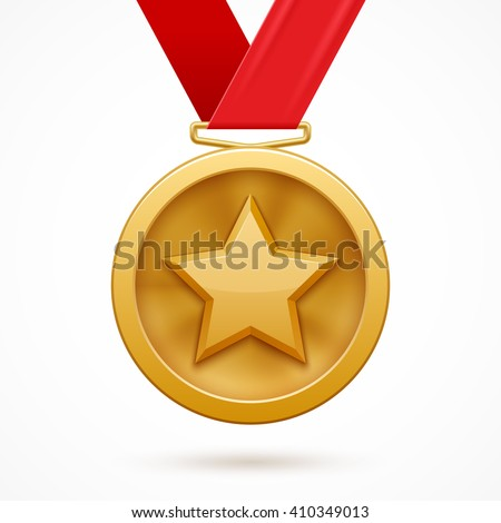 Gold medal with a star and red ribbon - stock vector