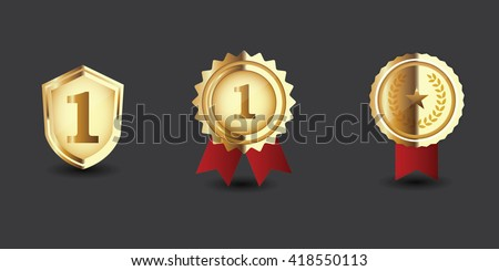Gold medal with red ribbon. first prize, award accomplishment. 1st place - stock vector