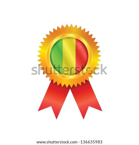 Gold medal with the national flag of Mali - stock vector