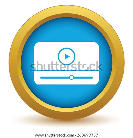 Gold media player icon on a white background. Vector illustration - stock vector