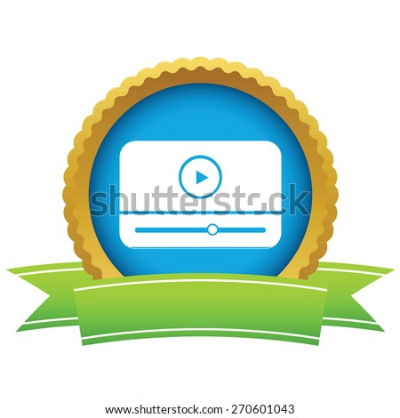 Gold media player logo on a white background. Vector illustration - stock vector