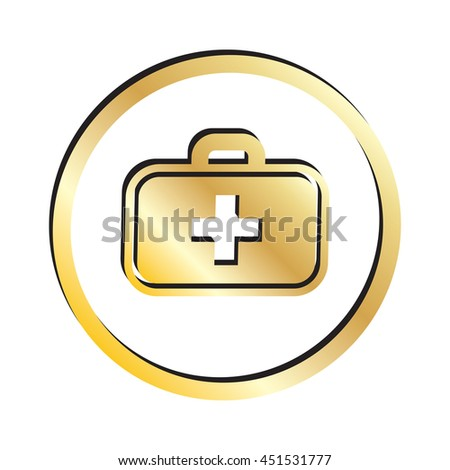 Gold Medical Kit Icon - stock vector