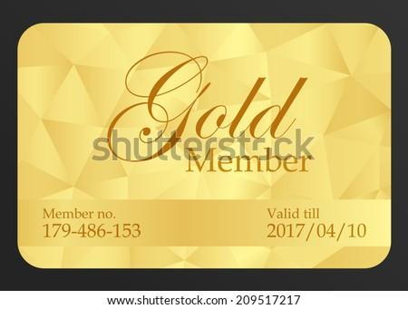 Gold member card - stock vector