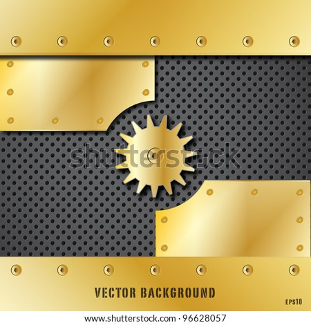 Gold metal plate and gears vector - stock vector