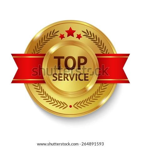 Gold metal top service badge with red ribbon and decoration vector illustration - stock vector