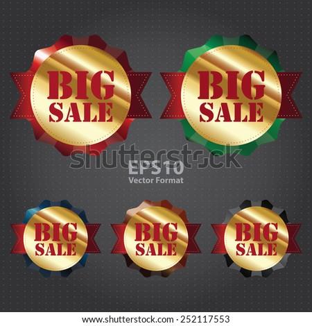 gold metallic big sale sticker, badge, icon, label, vector format - stock vector