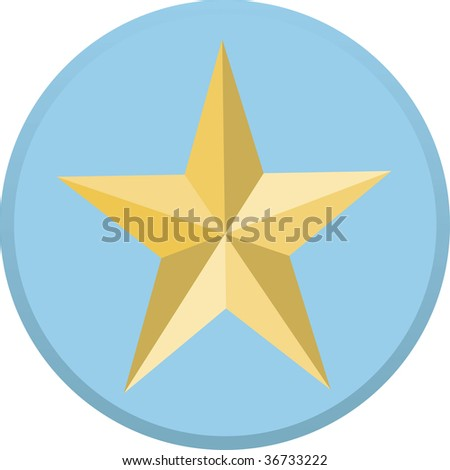 Gold military star on blue background - stock vector