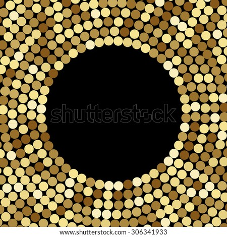 Gold Mosaic Background, on black. Abstract Illustration. Vector EPS10. - stock vector
