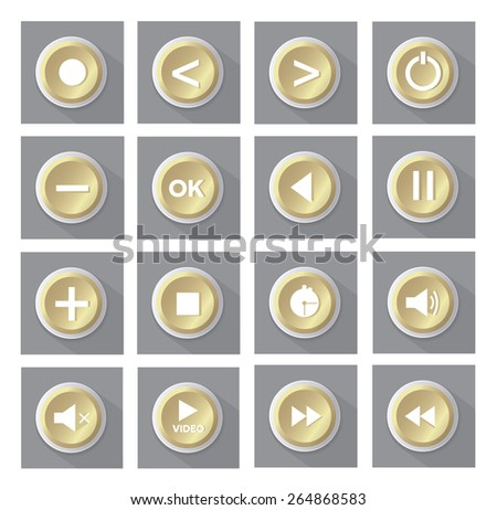 gold multimedia buttons set - stock vector
