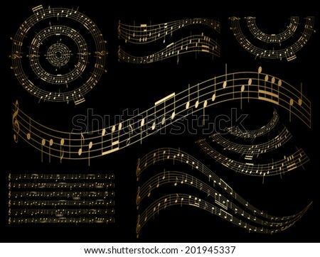 gold musical design elements - vector set - stock vector