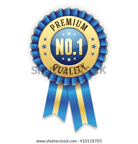 Gold no. 1 premium quality badge / rosette with blue ribbon - stock vector