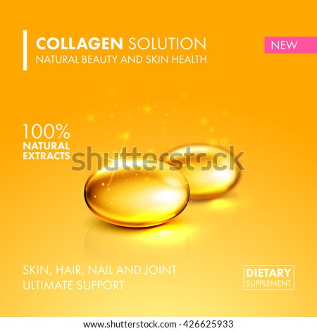 Gold oil collagen capsule, healthy dietary supplement product concept. Vector collagen pill illustration - stock vector