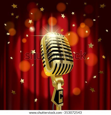 Gold old microphone against the illuminated red curtain background with rain of stars. Retro music concept. Vector illustration