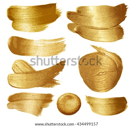 Gold paint set on white background. Vector illustration - stock vector
