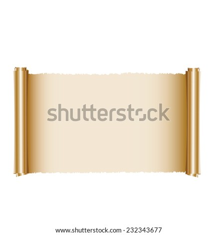 Gold paper scroll on white - stock vector